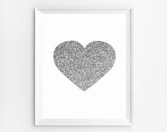 Nursery Print, Heart Wall Art, Heart Decor, Nursery Art, Heart Print, Nursery Decor, Nursery Wall Art, Wall Art, Heart Silver, Prints