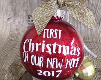 First Christmas in our new home bauble, glitter tree decoration, tree ornament, new home bauble, Christmas tree ornament