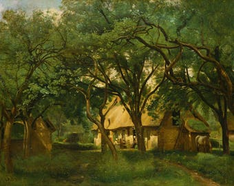 Camille Corot: The Toutain Farm at Honfleur. Fine Art Print/Poster (004581)