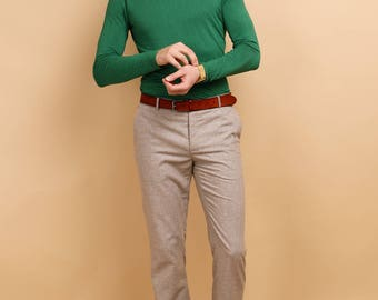 Men's slim fit pants in beige wool