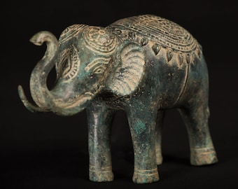 "Antique Khmer Style Bronze Trumpeting Elephant Statue - 14cm/5.5"" Tall"