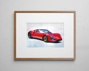 Vintage Alfa Romeo poster Digital Watercolor Art Print