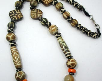 Designed handmade ethnic Asian contemporary pumtek bead Petrified Wood Bead fossil palm wood,Jade,Bone beads necklace