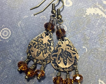 Etched Brass Earrings, Art Deco Earrings Amber Dangles - Free Domestic Shipping