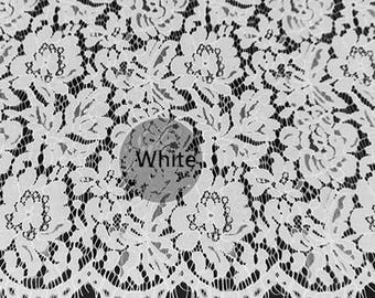 White Eyelash Hollow Lace Fabric Lace Trim 59.05 Inches Wide 1.64 Yards/ Craft Supplies, WL1421