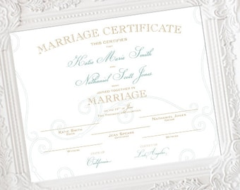 Customized Marriage Certificate, Personalized Wedding Certificate, Wedding Keepsake, Custom Colors, heavy weight matte paper