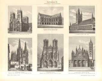 1902 Gothic Architecture, 13th and 14th Century Vintage Engraving Print