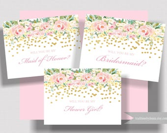 WILL YOU BE My Bridesmaid Card Blush Pink and Gold Folded Notecard   Bridesmaid Proposal   Maid of Honor Card   Flower Girl Card   Set of 5+