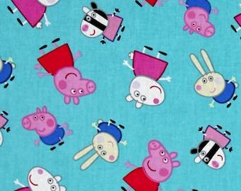 Nick Jr. Peppa Pig and Friends Aqua Blue Premium 100% Cotton fabric (In Stock) SC378