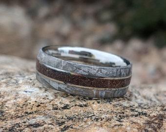 8mm Dinosaur Bone and Gibeon Meteorite Ring, Custom Made Meteorite Wedding Band