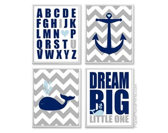 Nautical Baby Room Pictures, Whale Nursery Wall Art, Kids Prints, Navy Light Blue Ocean Theme, Nursery Wall Decor Baby Wall Art 11x14