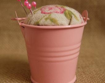 Pin Cushion Bucket- Dusty Rose