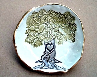 Ceramic  Tree Ring holder bowl edged in gold Organic Shape