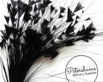 Triangle Tipped Stripped Coque & Burnt Peacock Feather Wired Millinery Hat Mount - Black