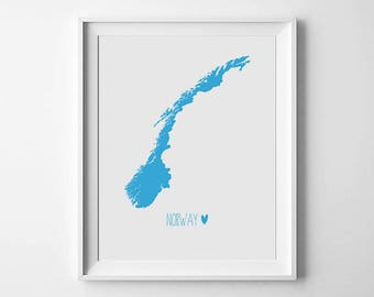 Norway Map Print, Wall Art Print, World Map Print, Travel Poster, Room Decor, Printable Art, Digital Art Print, Scandinavian Art Print