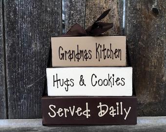 Grandma/Mothers day wood stacker blocks-- Grandmas kitchen hugs and cookies served daily, Grandma, Nana, Mimi blocks