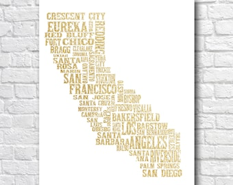 California State City Wall Art - Gold Glitter Typography Printable - San Francisco Los Angeles Santa Barbara San Diego - Housewarming Gift
