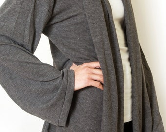Plus Size Grey Cardigan Oversized Sweater Long Loose Knit For Women