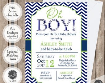 Oh Boy Baby Bhower invitation in navy and lime green  OBLN