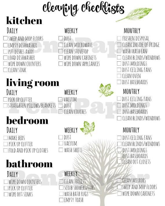 Reinigung Checkliste-sofort-Download / / Reinigung Checkliste