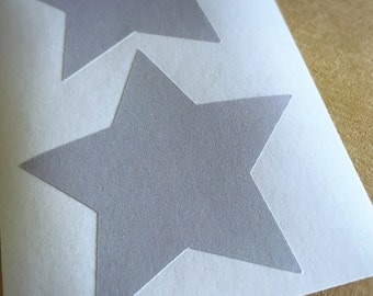 Large Grey Star Paper Seal Stickers - 5cm Star Sticker Seals - 12 Seals