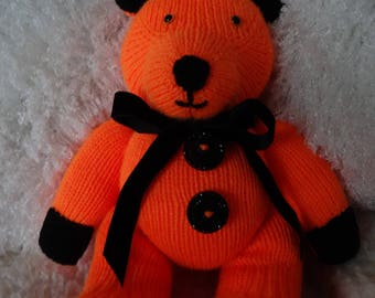 Hand Knitted Bright Orange and Black Teddy Bear/Toy. With Black Velvet Bow. Beaded Buttons.