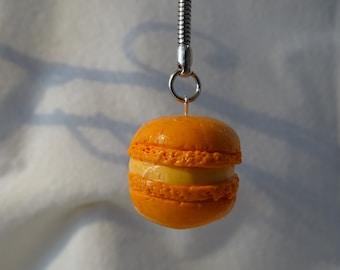 macaroon keychain with glittery orange