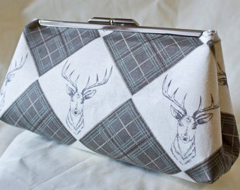 Clutch Bag - Purse - Hand Bag - Accessory Bag - Toiletry Bag - Handmade bag featuring Scottish stag fabric from Lewis & Irene in 100% cotton