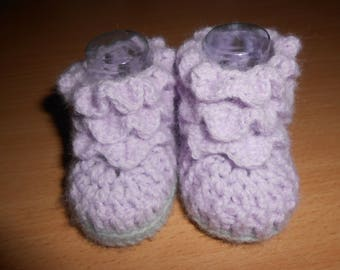 Purple and gray baby booties