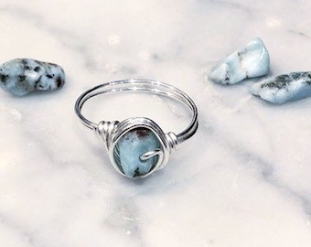 Larimar Ring • Silver, Gold or Rose gold wire • Wire wrapped ring • Gemstone ring • Boho ring • Crystal ring