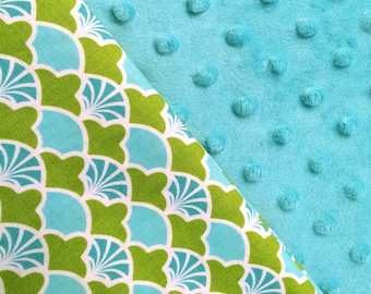 Baby Car Seat Canopy COVER or NURSING Cover: Blue and Green Arch Pattern with Teal Minky, Personalization Available