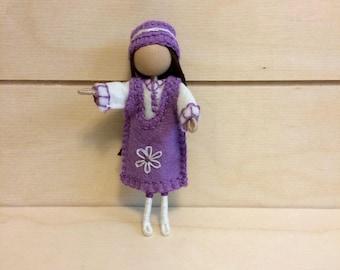 Lilac - Bendy doll - Miniature doll - Faceless doll - Dollhouse doll - Pocket doll - Waldorf doll - Montessori toy - Tiny doll