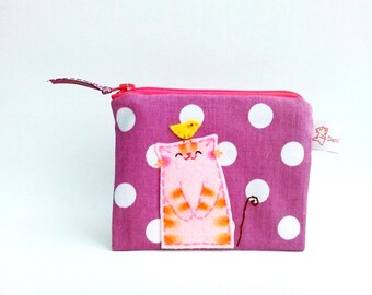 cute coin purse, cute cat purse, retro purse, polka dot pouch, cat pouch, coin purse, cat purse, zipper pouch, cute pouch, stocking stuffer