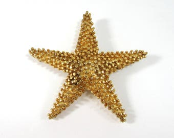 """Large Starfish brooch pin by DeNicola - 3.25"""" gold tone - Statement brooch 1960s"""