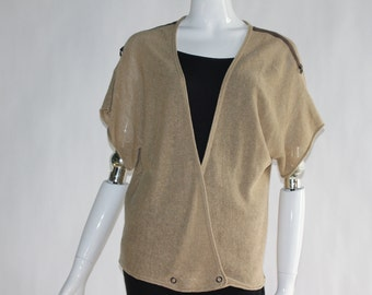 Vintage Knitted Tan Colour Top (Short Sleeve) with Long V-Neck - Size LARGE