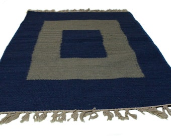 """Blue and Grey Cotton and Wool Handwoven Rug - 24x36"""""""