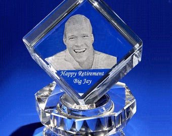 Employee Appreciation Crystal Award Teacher Retirement and Pastor Apprecaiton gift, 3D Etching Photo Crystal Cube Gift Set by Goodcount