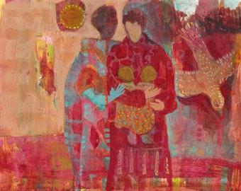 Partners Holding Twin Infants, Bird Spirit. Red, orange, turquoise. Blessings for new birth and prosperity.  http://www.judithbirdart.com/