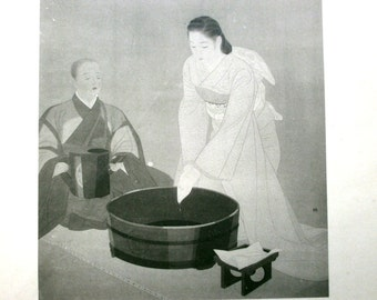Japanese Print Woman and Monk in Higan (Equinoctial weeks) Painting by Yamakawa Shuho 1898-1944