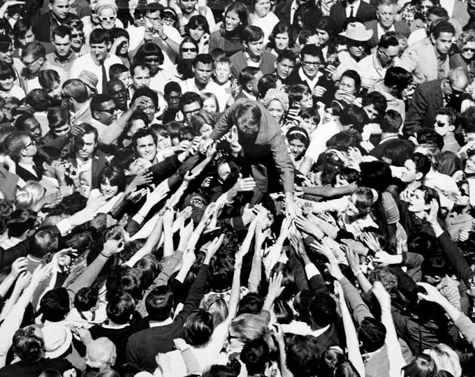 Senator Robert Kennedy Campaigning at the Monterey Peninsula Airport in 1968 - 5X7 or 8X10 Photo (AA-428)