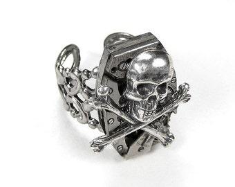 Steampunk Ring Vintage Silver  Watch Adjustable Band ROCKER BIKER SKULL Bones, Womens, Mens Steampunk Ring - Steampunk Jewelry by edmdesigns