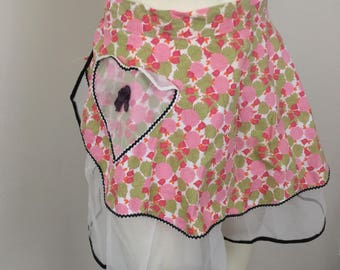 Vintage Womens Reversible Floral and Lace Apron Skirt