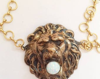 Lion Head Necklace w. Kyocera Opal.  Adjustable chain.  Bronze Antiqued, Handmade.