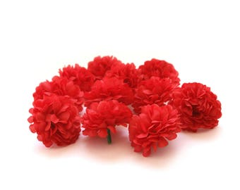 Red Pom Pom Carnations - 25 count - Artificial Flowers, Silk Flowers