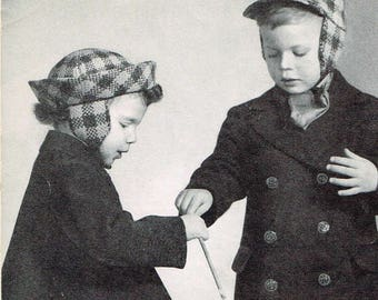 Vintage Knitting Pattern - Plaid Hats for Boys and Girls - PDf downloadable - 40's retro 1940's caps
