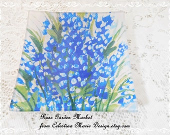 "Blue Bonnets Hand Painted Design Added to Glass 6"" Square,Display, Serving, Collectible, ECS"