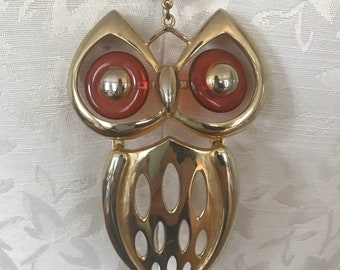 Vintage Gold Double Strand Necklace with Gold Owl Pendant