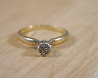 Vintage Diamond Engagement Ring, 10k Yellow and White Gold Diamond Ring, Vintage Engagement Ring, Mine Cut Diamond Ring Size 6.75