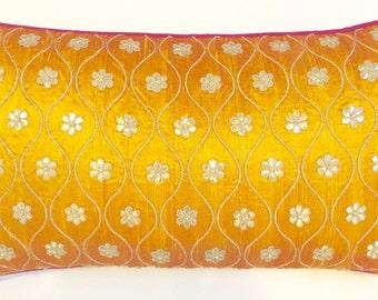Gota Patti Long Cushion Cover (Mustard)