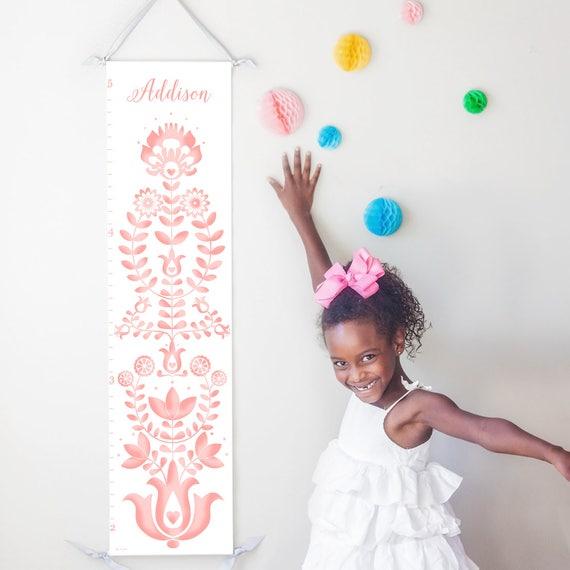 Personalized folk art  pink canvas growth chart
